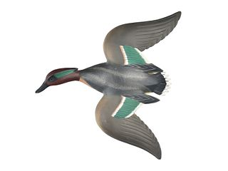 Rare pair of flying green wing teal, Ward Brothers, Crisfield, Maryland.