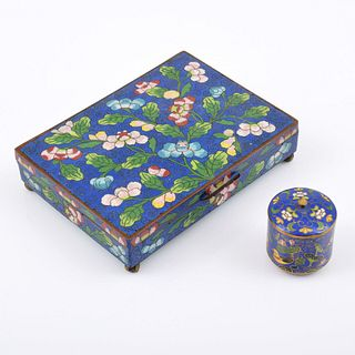 Chinese Cloisonne Jewelry Box and Snuff Box