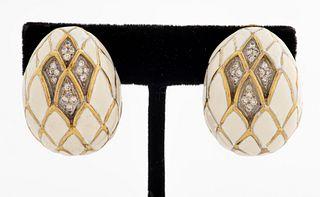 18K Yellow Gold Diamond & Enamel Clip Earrings