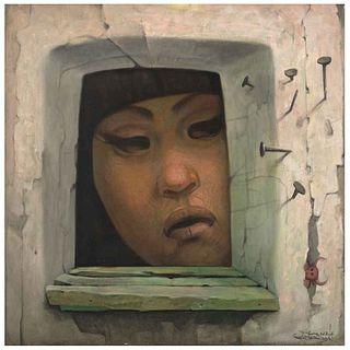 JORGE GONZÁLEZ CAMARENA,La muchacha del diablito 3,Firmado frente, Firmado y fechado Mex 1970 reverso,Óleo/lino,80x80cm,Certificado