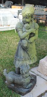 Patinated And Large Bronze Sculpture Of Young Girl