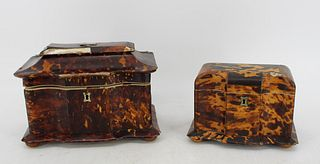 Lot of 2 Antique Tea Caddies - with losses.