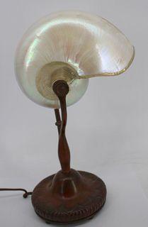 Tiffany Studios Bronze Nautilus Table Lamp