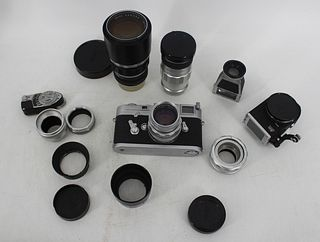 Leica M3 Camera With Telyt Lens Plus Accessories.