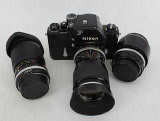 Vintage Nikon F Black Body Camera With 3 Lenses