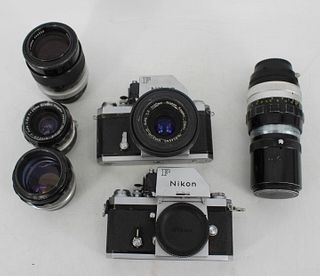 Vintage Nikon F Lot - 2 Bodies, 5 Lenses