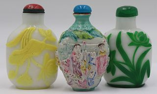 Grouping of (3) Snuff Bottles.