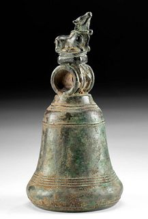 12th C. Indonesian Majapahit Bronze Bell w/ Cow Finial