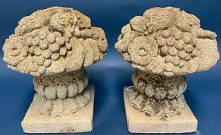 Pair of Cement Garden Urns