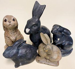 Five Rabbit Figures