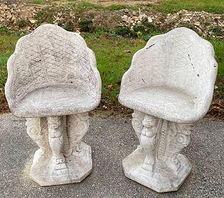 Pair of Concrete Garden Seats