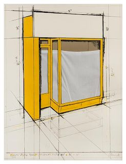 * Christo and Jeanne-Claude, (Bulgarian, b. 1935), Yellow Store Front, Project, 1980