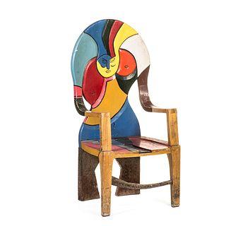 Sillón. SXX. Elaborado en madera policromada y metal. Diseño abstracto a manera de mujer desnuda. Con respaldo curvo.