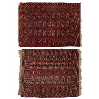 Lote de 2 tapetes. Medio Oriente, SXX. Estilo Bokhara. Anudados a mano en fibras de lana. Decorados con motivos geométricos y orgánicos