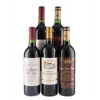 Lote de Vinos Tintos de Francia. Château Tour Carmail. Château Coufran. En presentaciones de 750 ml. Total de piezas: 5.