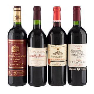 Lote de Vinos Tintos de Francia. Château Haut Sabla. Château Larose - Trintaudon. En presentaciones de 750 ml. Total de piezs: 4.