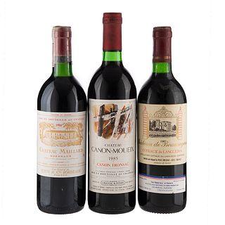 Lote de Vinos Tintos Francia. Château de Beauregard. Château Maillard. En presentaciones de 750 ml. Total de piezas: 3.