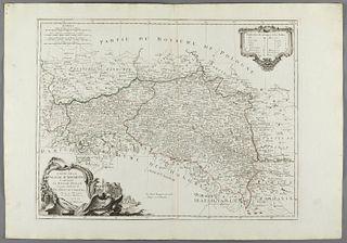 """""""AUSTRIAN POLAND"""", map belonging to the """"Atlas Universel, dressé sur les meilleures cartes modernes"""", second half of the 18th century.  Illuminated en"""