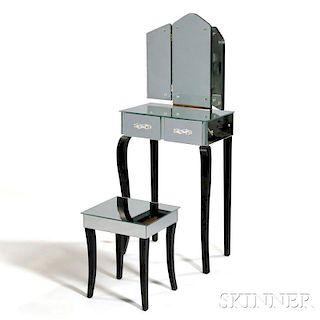 Art Deco Hollywood-style Vanity with Stool
