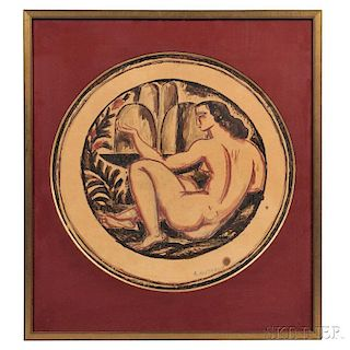 René Buthaud (French, 1886-1986)      Design for a Ceramic Plate/Cubist Reclining Nude