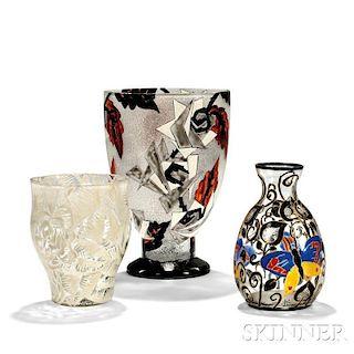Three Albert Mazoyer Art Deco Glass Vases
