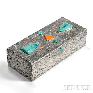 Hammered Silver Box with Enamel Plaques and Cabochons