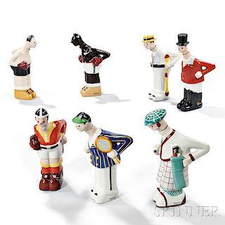 Seven Sportsmen Ceramic Decanters