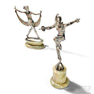 Two Joseph Lorenzl Cold-painted Bronze Sculptures