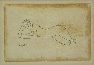 """MODIGLIANI, Amedeo (After). Etching """"Nu"""" or"""