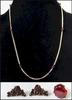 3 PCS 14K GOLD : GOLD & RED BEAD NECKLACE, GOLD &