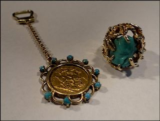 TURQUOISE NUGGET RING & GOLD SOVEREIGN KEY CHAIN