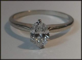 APPROX. .62 CT. OVAL DIAM. SOLITAIRE IN 14K WHITE
