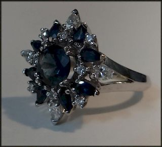 18K WH. GOLD RING W/ NATURAL SAPPHIRES & DIAMONDS