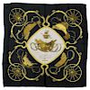 """HERMES SILK TWILL SCARF, """"RINGS', PHILIPPE LEDOUX"""
