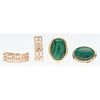 14 Karat Yellow Gold Malachite Earrings PLUS