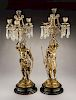 Pair of Figural Indian Candelabra with Crystals
