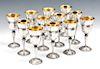 Set of 12 Buccellati Grande Imperiale pattern sterling silver goblets
