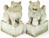 Pair of Antique Chinese Carved Hardstone Foo Lions