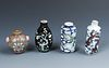 4 Antique Chinese Porcelain and Enamel Snuff Bottles