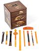 Asian Lacquerware 3 Drawer Jewelry Box and Ladies Beauty Accessories