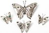 4 Silver Butterfly Pins