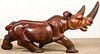 """Large Carved Hardwood Rhinoceros: 54"""" L"""