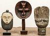 3 Vintage African Carved Wood Tribal Style Figural Forms/Masks