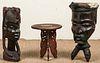 2 Vintage African Carved Wood Figural Forms & Side Table