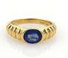 Bvlgari 1ct Sapphire & 18k Gold Ribbed Design Ring