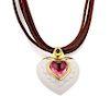 Bvlgari Tourmaline 18k Gold Heart 5 Cord Necklace