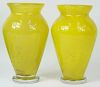 Pair of Daum France Baltic Amber Flower Vases