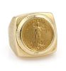 Vintage 22k Liberty Coin 14k Gold Square Top Ring