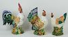 (3) Collection of three Italian Majolica Roosters