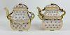 Pair of H/P Meissen German Porcelain Teapots